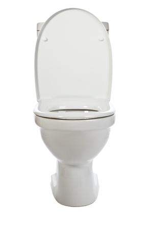 white ceramic toilet on white background photo