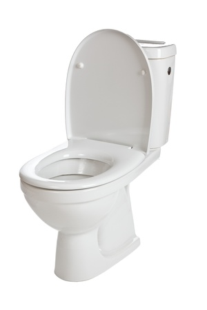 public toilet: white ceramic toilet on white background Stock Photo