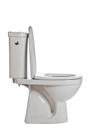 biaÅ'y toaletowe ceramiczne na biaÅ'ym tle Zdjęcie Seryjne