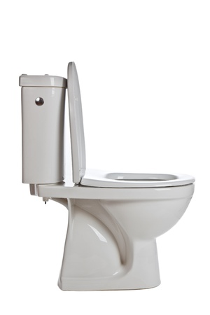white ceramic toilet on white background photo