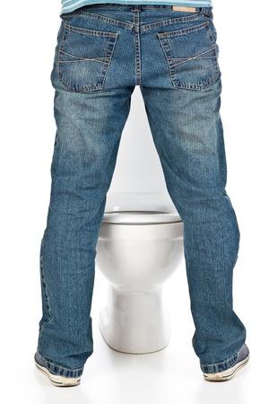 urinating: man pee on the toilet