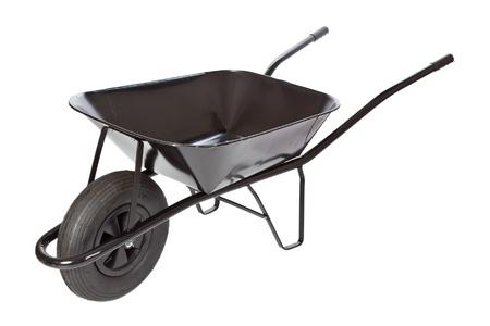black wheelbarrow  on white background photo