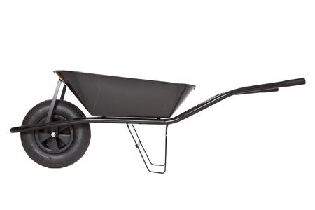 barrow: black wheelbarrow  on white background Stock Photo