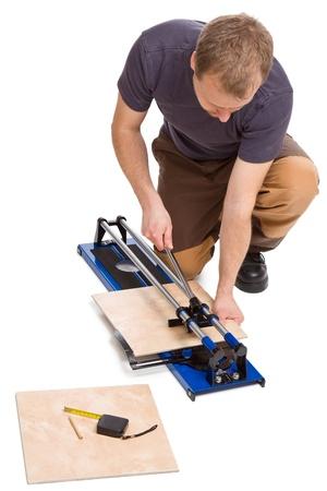 photo shot of man cut tiles Stock Photo - 9305792