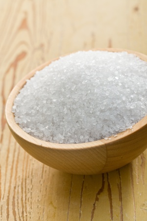 salt crystals in wooden bowl Stock Photo - 9305891
