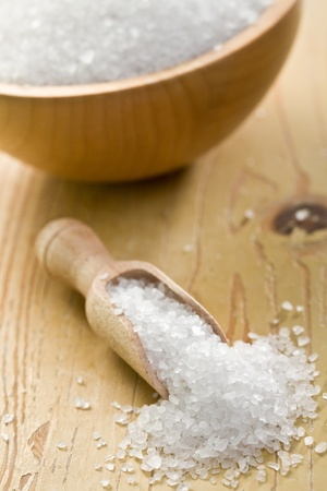 salt crystals in wooden scoop Stock Photo - 9305892