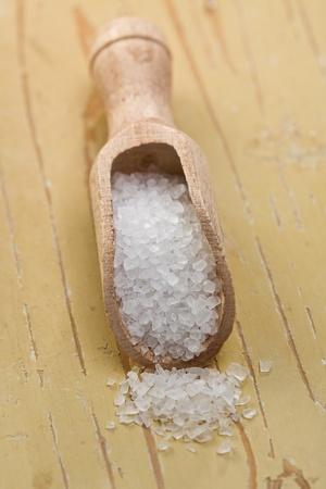 salt crystals in wooden scoop Stock Photo - 9305887