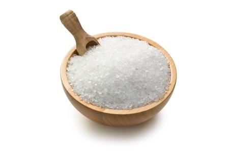 salt crystal: salt crystals in wooden bowl Stock Photo