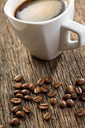 the cup of espresso with coffee beans Stock Photo - 9305902