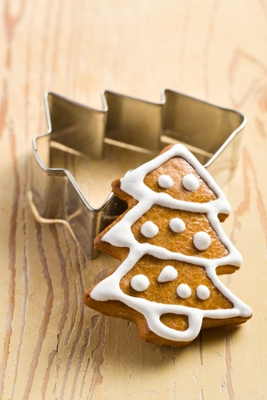 sugar cookie: photo shot of christmas gingerbread on wooden background Stock Photo