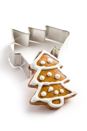 photo shot of christmas gingerbread on white background photo