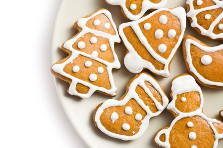 photo shot of christmas gingerbreads on plate
