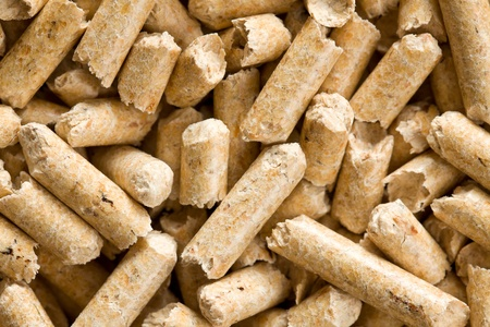 wood pellet: the wooden pellet .ecological heating Stock Photo