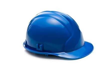 solid blue background: blue hardhat on white background Stock Photo