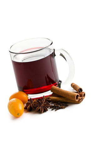 spiced: mulled wine on white background