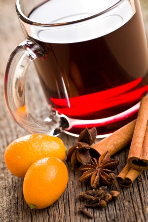 grog: mulled wine in glass cup