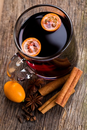 mulled wine in glass cup photo