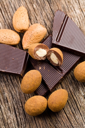 dipped: the almonds in chocolate with cinnamon