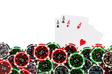 the playing cards and poker chips Stock Photo - 12489054