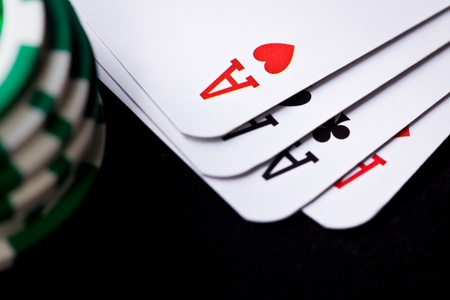 the playing cards and poker chips