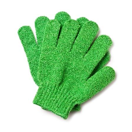 fregando: guantes de lavado de vegetales sobre fondo blanco
