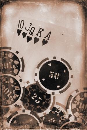 cartas de poker: concepto de la vendimia de póquer Foto de archivo