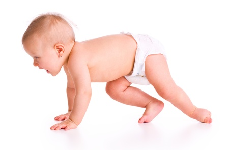 the studio shot of baby crawling photo