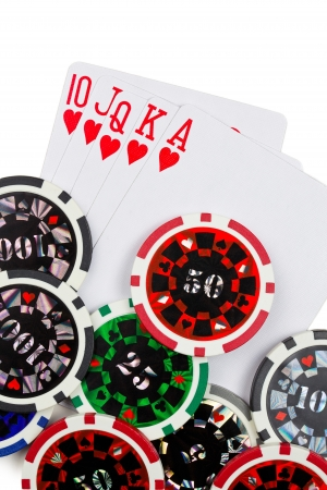 the playing cards and poker chips Stock Photo - 13894673