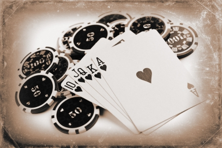 photo shot of vintage poker concept