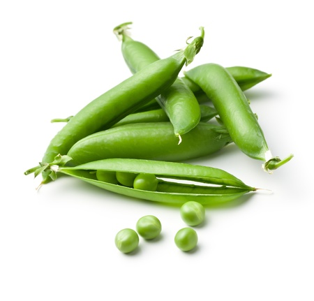 fresh green peas on white background photo