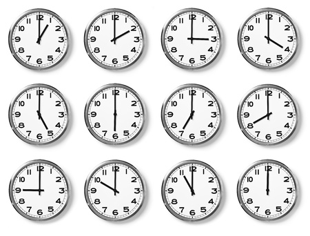 analog: set of wall clocks with another times Stock Photo