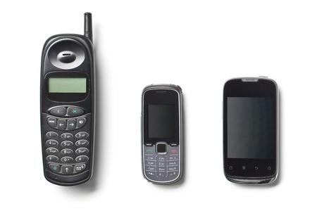 set van drie generatie mobiele telefoons op een witte achtergrond Stockfoto
