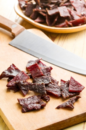 dehydrated: tasty beef jerky on kitchen table