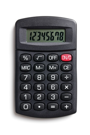 black calculator on white background photo