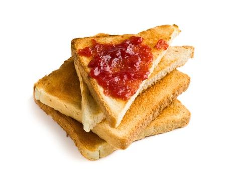 jam sandwich: toast with jam on white background Stock Photo