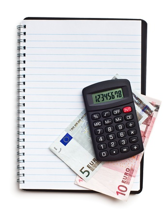 notebook with euro money and calculator on white background Stock Photo - 14732546