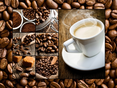 the collage of different coffee motifs photo