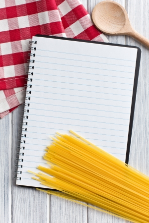 the blank recipe book with italian spaghetti Stock Photo - 14941411