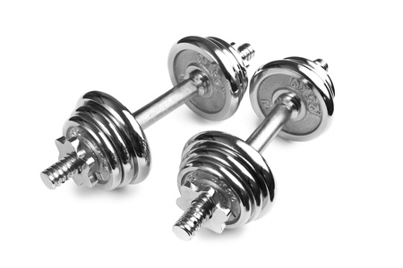 Chromed fitness dumbbells on white background