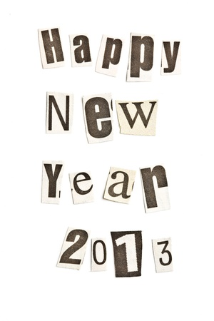 New Year wishes  Shot with newspaper letters Stock Photo - 14941432