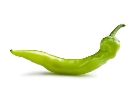 green chili pepper on white background photo