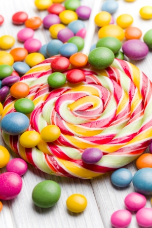bonbons: the colored candy and lollipop Stock Photo