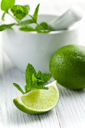 green lime with fresh mint photo