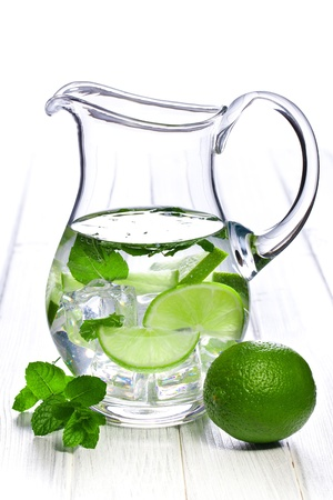 lime juice: pitcher of lemonade with lime and mint