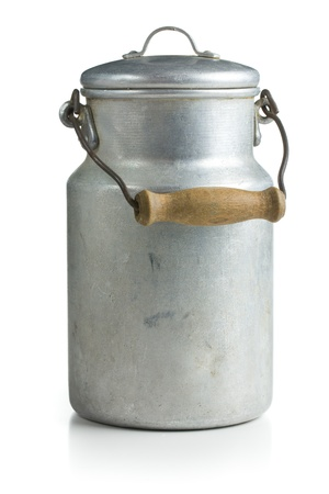 milk cans: aluminium milk can on white background
