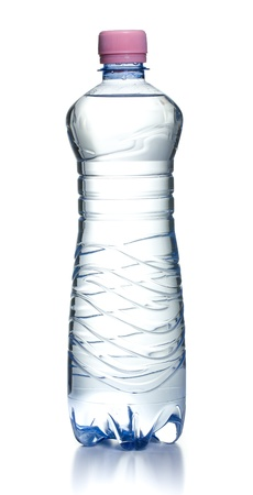 plastic water bottle on white background photo