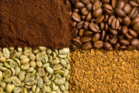 green, roasted, ground and instant coffee background