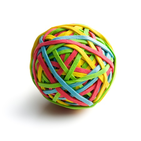 elastic: rubber band ball on white background Stock Photo