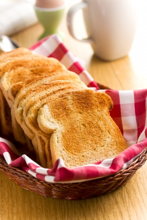 baking bread: Breakfast. White toasted bread in basket. Stock Photo