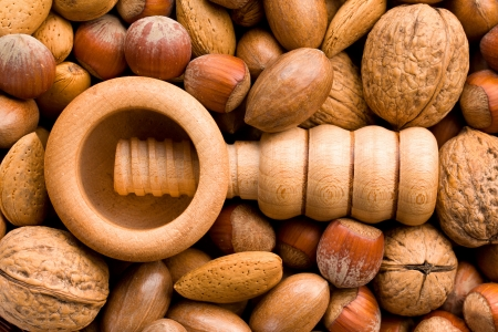 the nutcracker: wooden nutcracker and various nuts
